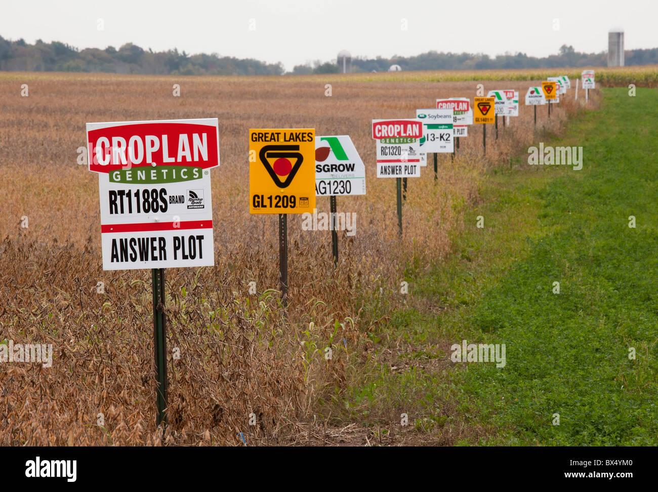 Saint Nazianz, Wisconsin - Signes marquer différentes variétés de cultures dans un champ de soja, Photo Stock