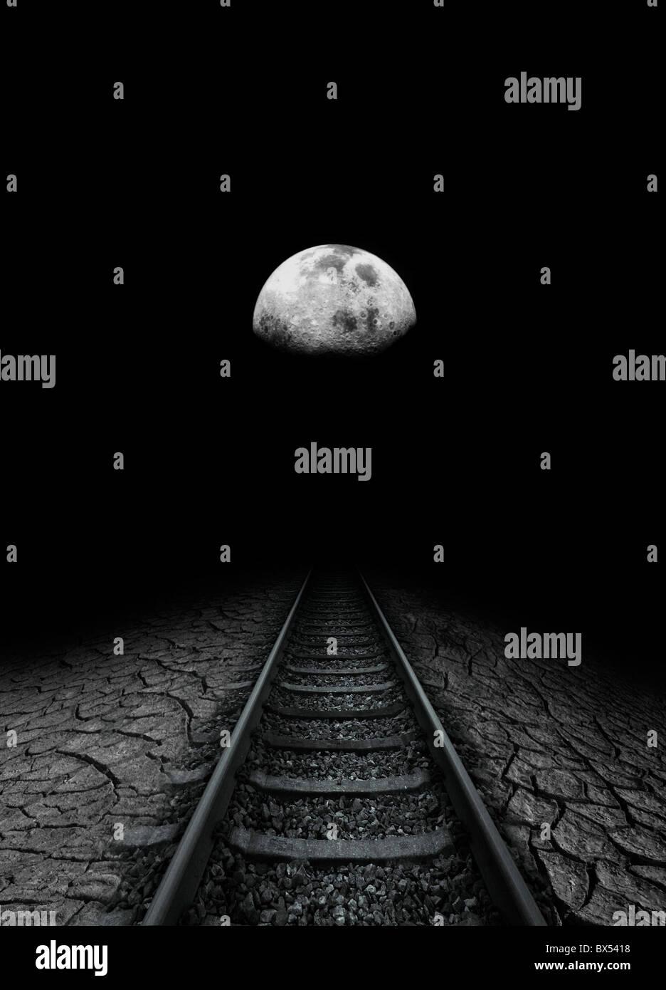 Voyage dans la Lune, conceptual artwork Photo Stock