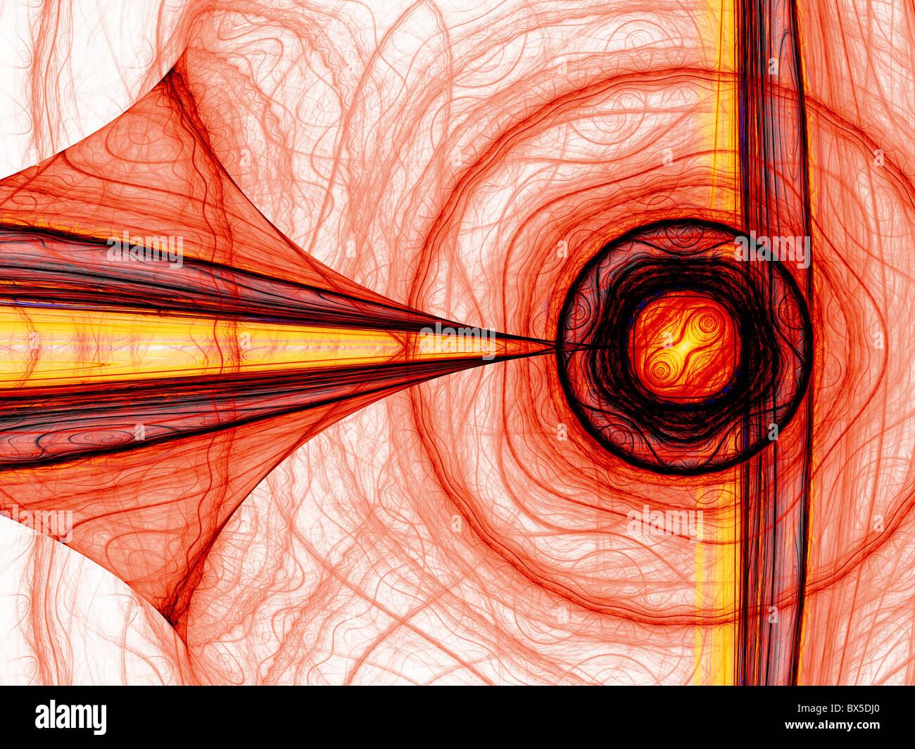 Résumé de l'énergie rouge générée par ordinateur fractal. Bon comme fond d'écran. Banque D'Images