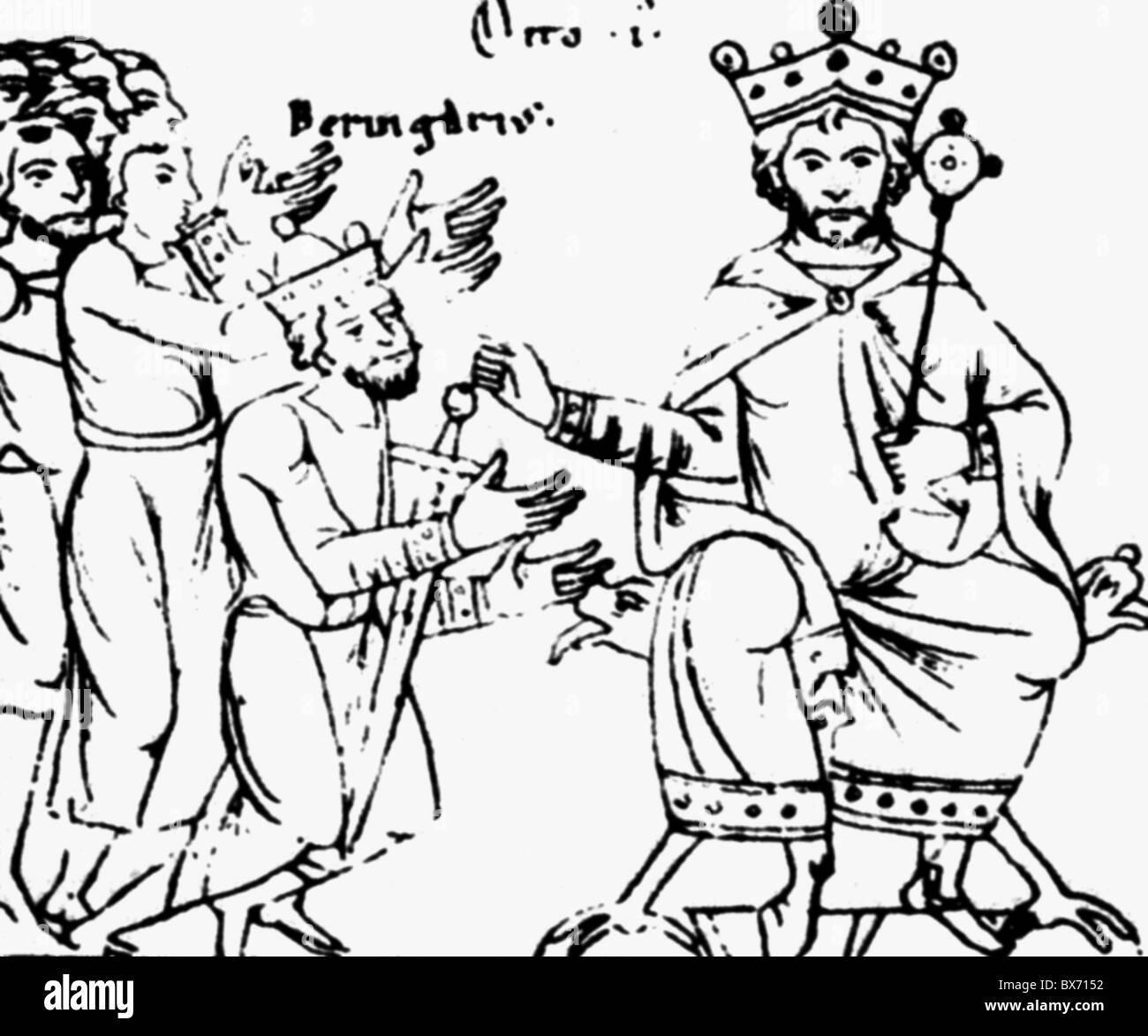 Berengar II, vers 900 - 6.8.966, roi d'Italie 950 - 961, soumettre à la roi allemand Otto Je les 'grandes', Photo Stock