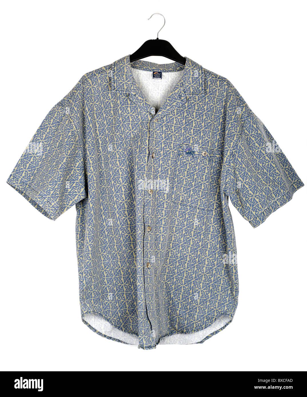Mens Grand Lowe Alpine jaune et bleu à manches courtes chemise d'été à motifs Photo Stock