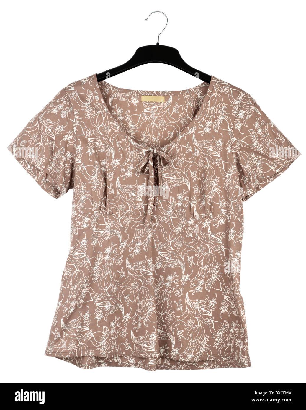 Mesdames brun et blanc à manches courtes blouse à motifs Photo Stock