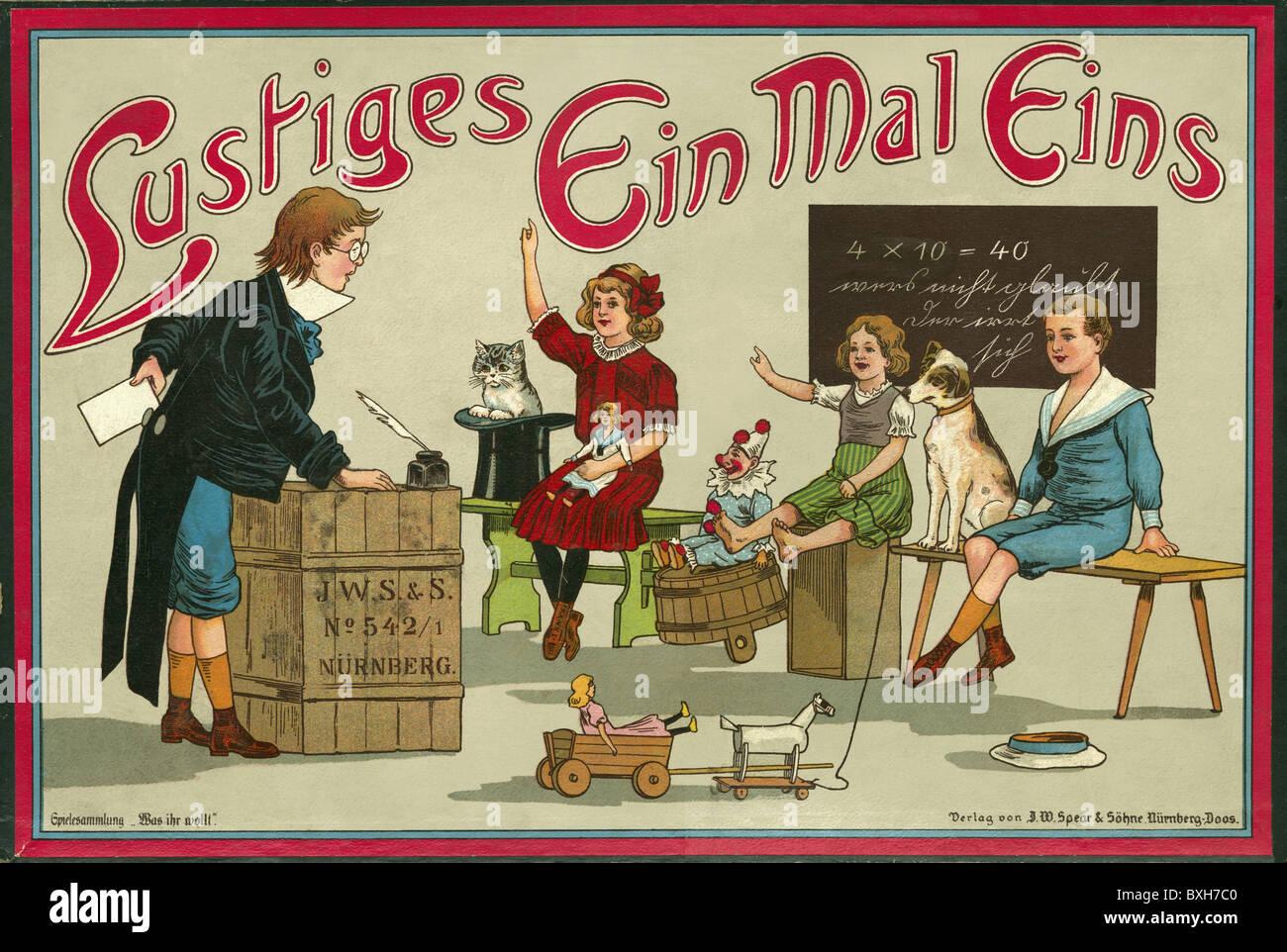 """Jeu, jeux de société, """"Mal Ein Lustiges Eins' (table de multiplication drôle), Nuremberg Photo Stock"""