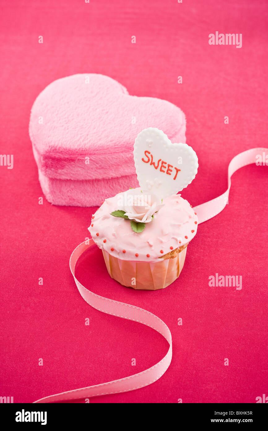 Cupcake en forme de coeur et fort Photo Stock