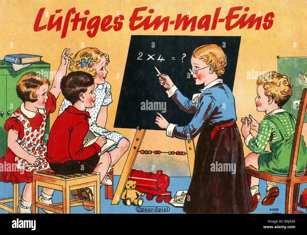 """Jeu, jeux de société, """"Mal Ein Lustiges Eins' (table de multiplication drôle), Allemagne, Photo Stock"""