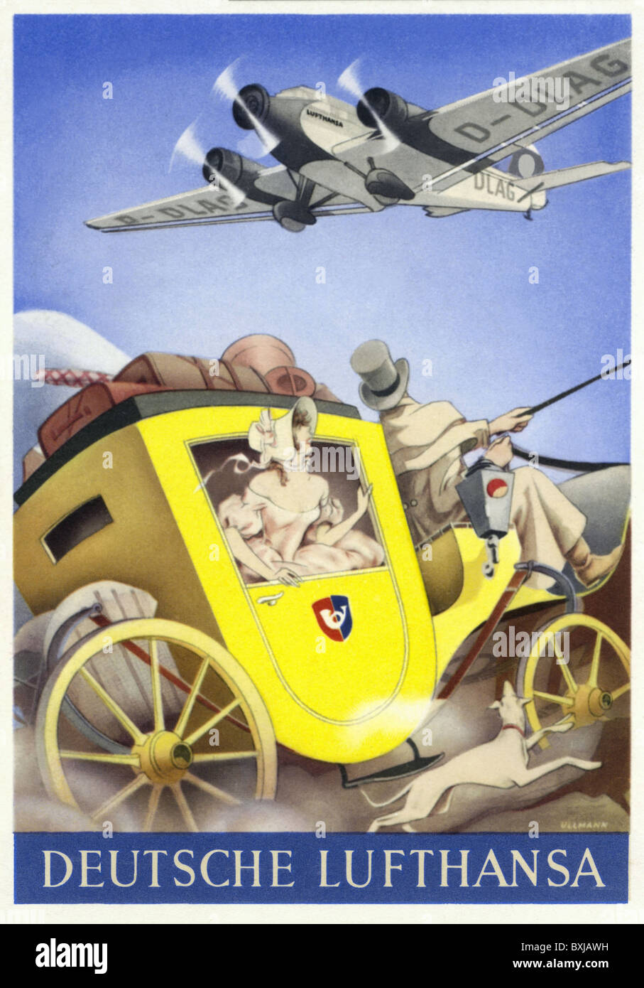 La publicité la publicité, transport, carte postale de l'allemand Lufthansa, mail coach et avion, Photo Stock