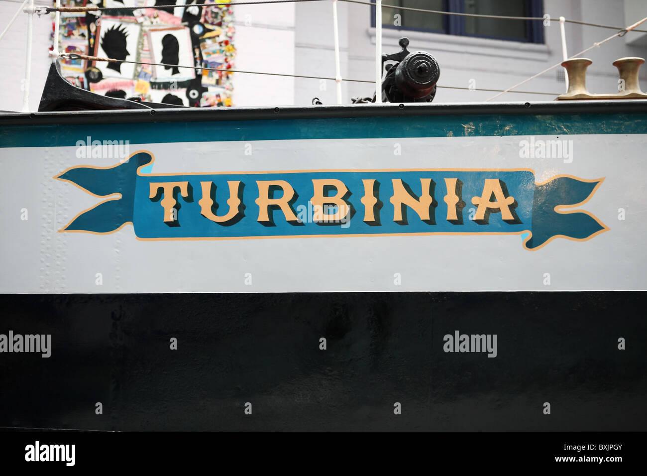Le Turbinia, premier navire propulsé par turbine à vapeur, conçu par Charles Parsons, vu dans le Photo Stock