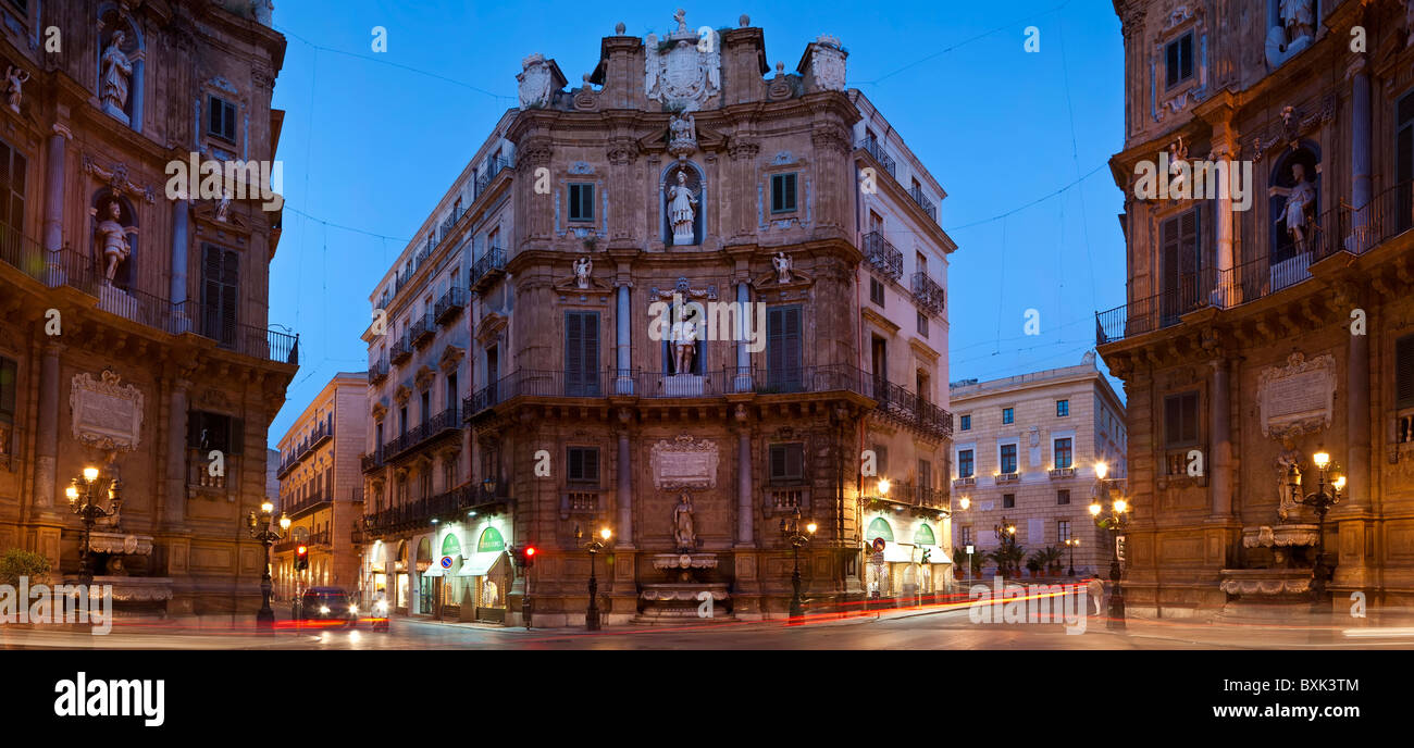 Quattro Canti majestueux sur le Corso Vittorio Emanuele, Palerme, Sicile Photo Stock