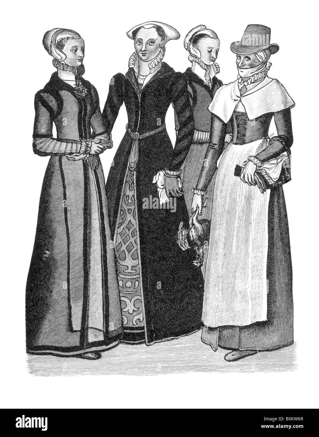 Costumes de l'Burgher-Women et une femme de la campagne; 16e siècle; noir et blanc Illustration; Photo Stock