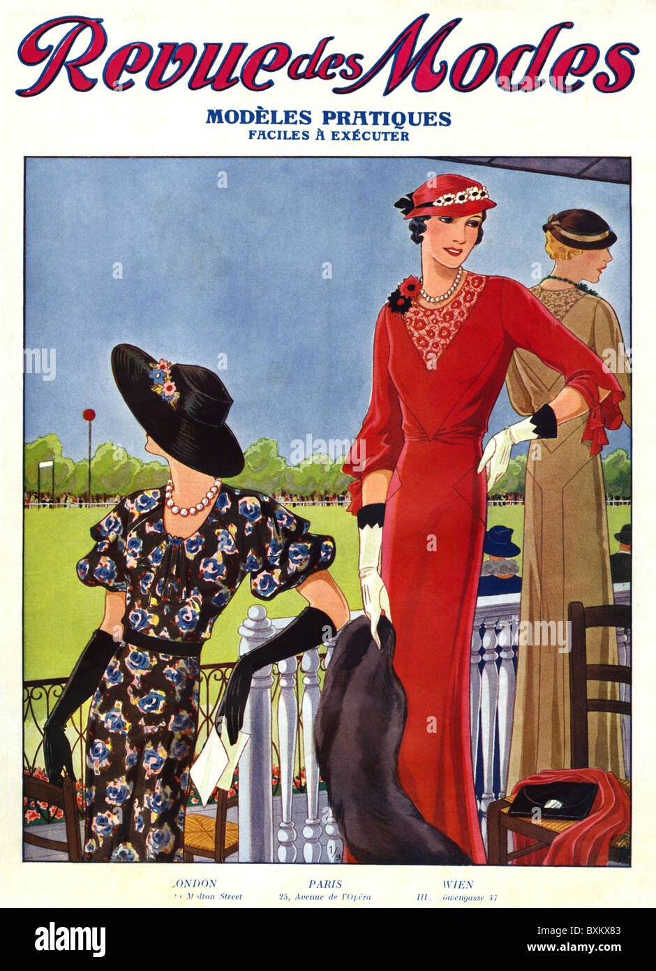 La mode, années 1930, ladie's fashion, couvrir de magazine de mode 'Revue des modes', France, 1932, Photo Stock