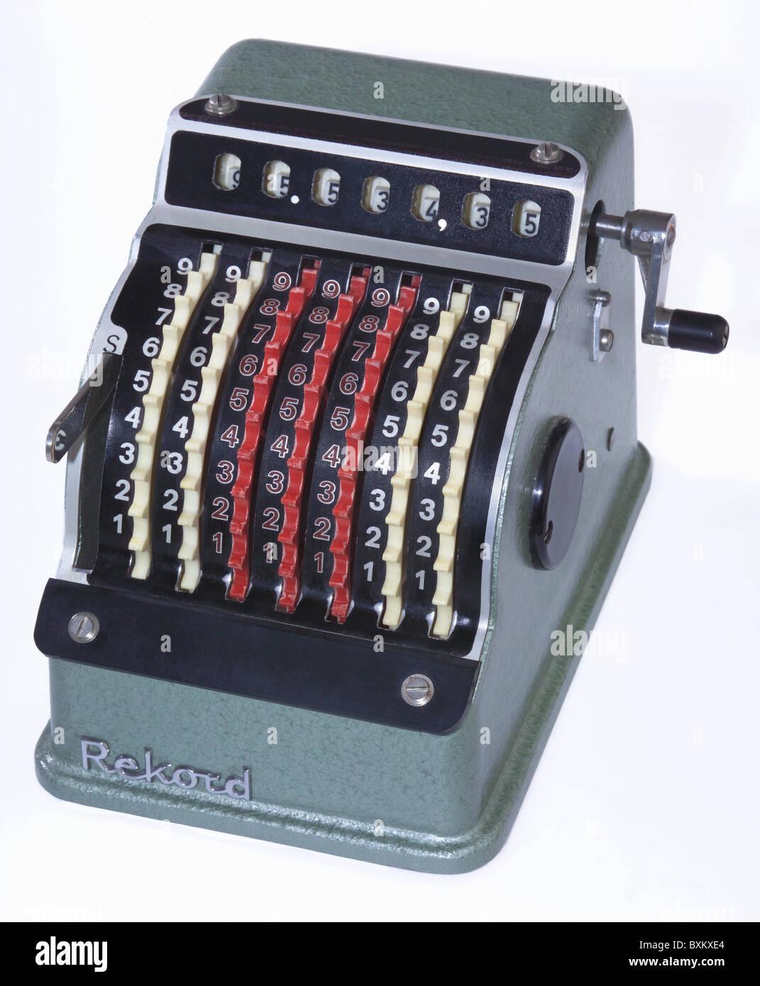Bureau, Matériel de bureau, d'une calculatrice, calculatrice mécanique, 500, tableau calculatrice, Photo Stock