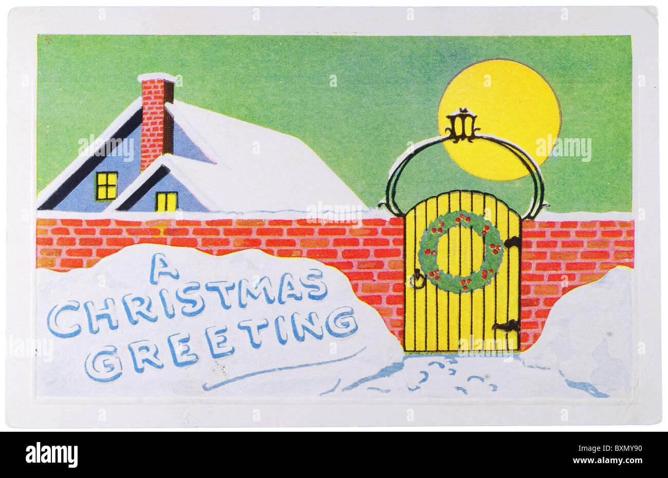 Carte de Vœux de Noël Vintage poster Photo Stock