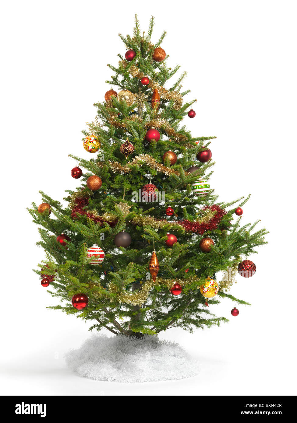 Decorated Christmas Tree isolé sur fond blanc Photo Stock