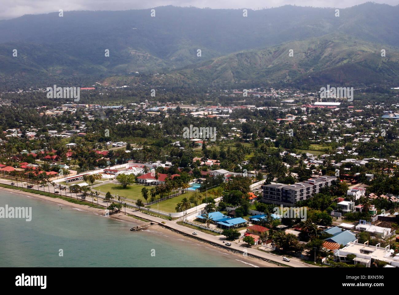 Birds Eye View sur Dili, capitale du Timor Leste (Timor oriental) Banque D'Images