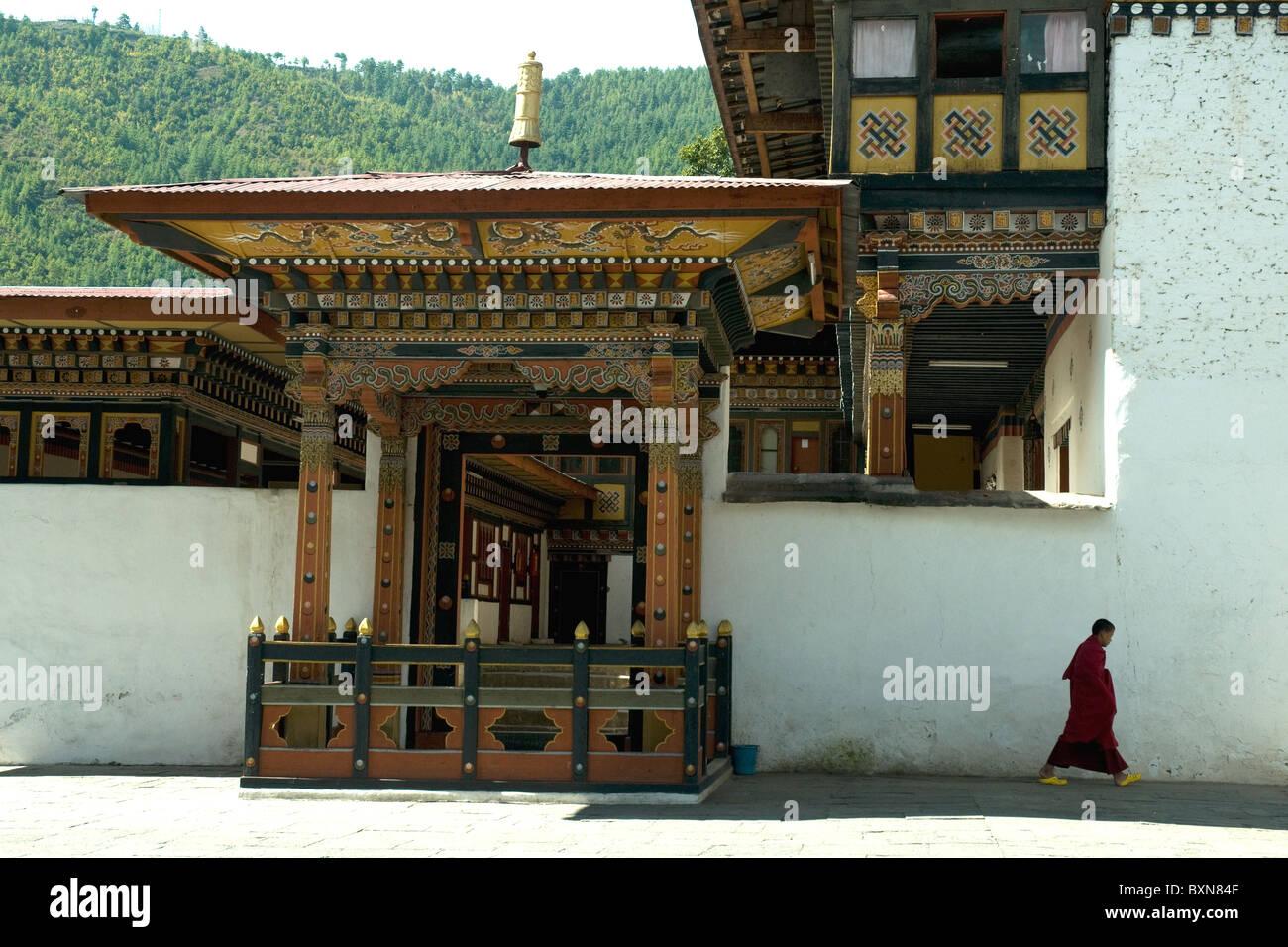 À l'intérieur de la vaste Thimpu dzong, forteresse ou du Bhoutan; l'art et l'architecture Photo Stock