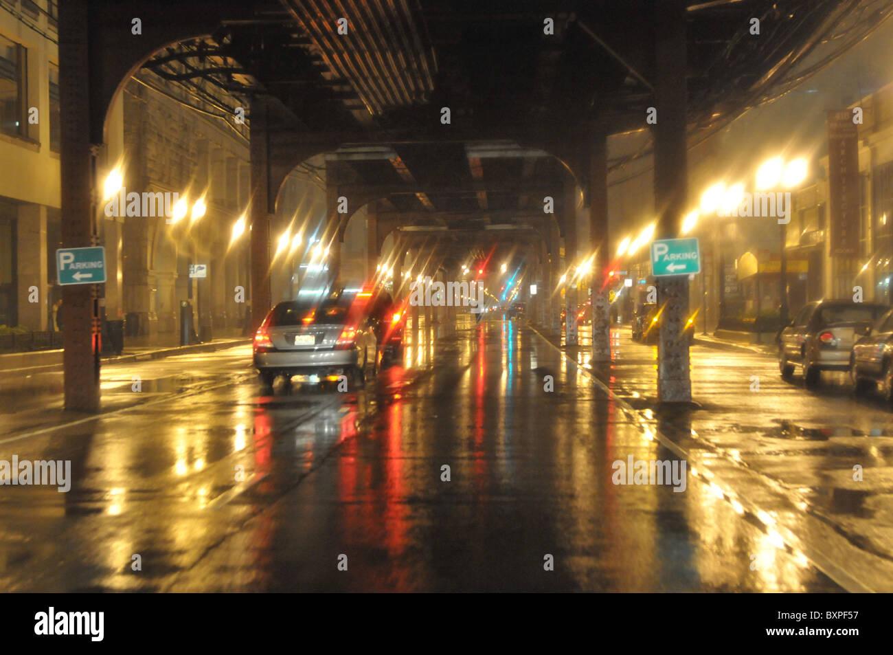 nuit pluvieuse Photo Stock