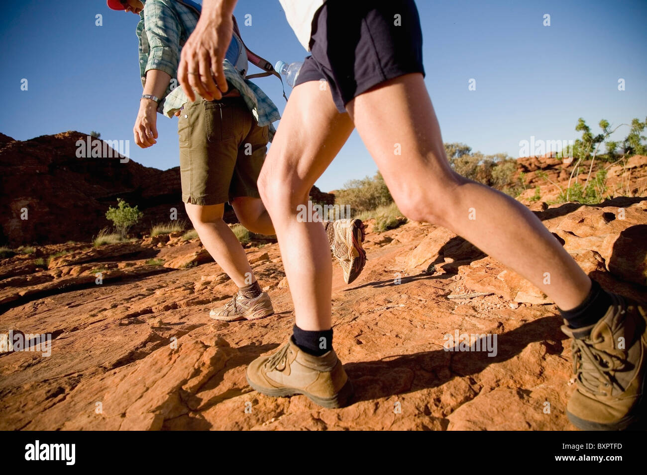 Couple Walking in Kings Canyon, Low Angle View Photo Stock