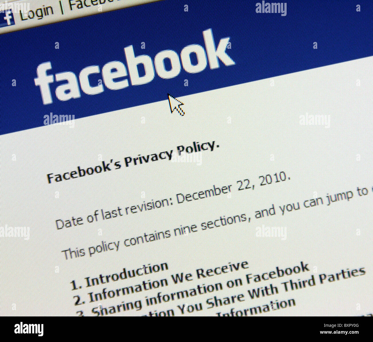 Politique de confidentialité de Facebook 2010 Photo Stock