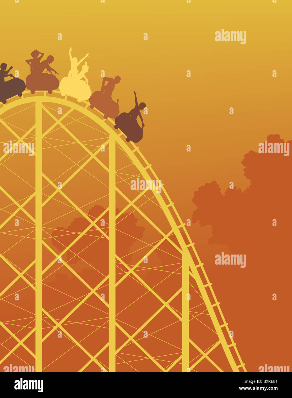 Illustré en couleurs silhouette d'un Rollercoaster ride raide Photo Stock