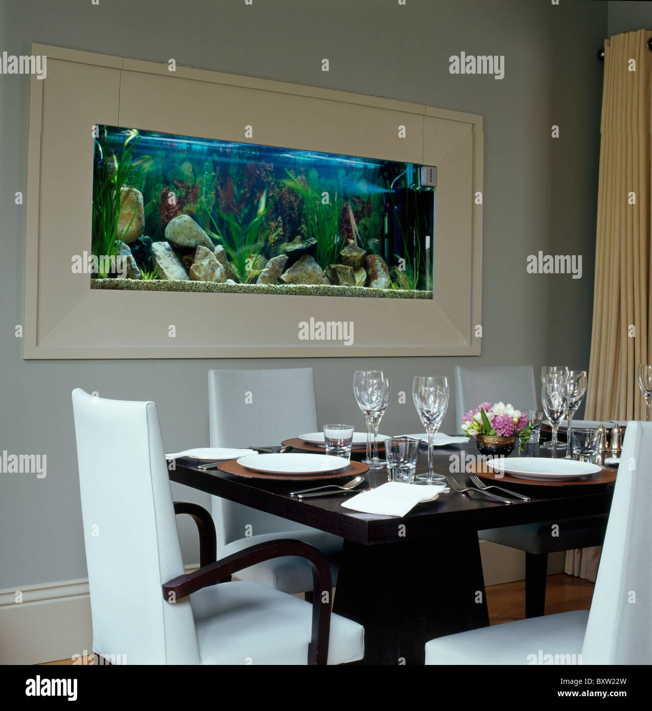 Grand Aquarium Situe Dans Le Mur Gris Pale De Salle A Manger Avec