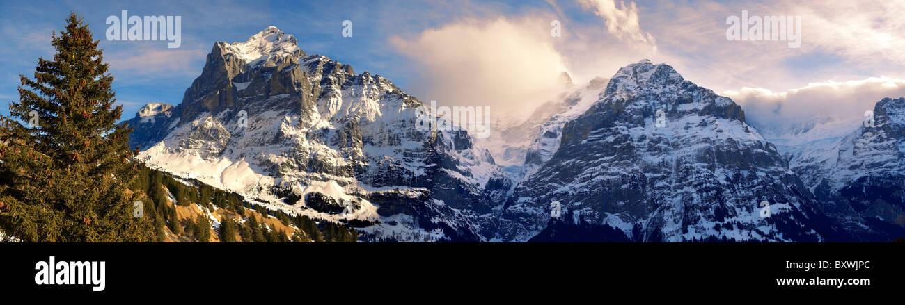 Sur les pistes des Alpes à la recherche vers le Wetterhorn (à gauche). Alpes Suisses, Suisse Photo Stock