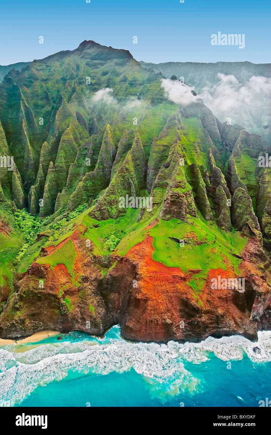 Vue aérienne de la Côte de Na Pali, Kauai, Hawaii, USA Photo Stock