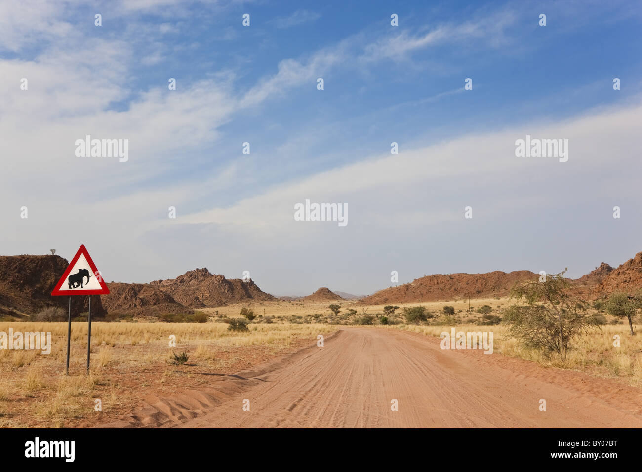 Elephant road sign & road, Damaraland, Namibie Photo Stock