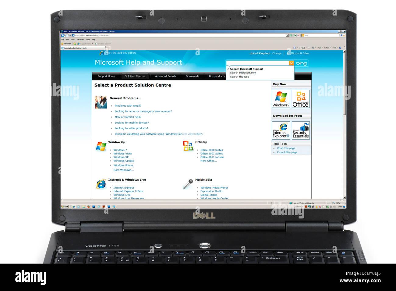 En utilisant le Centre d'aide et de Support Microsoft sur un ordinateur portable, UK Photo Stock
