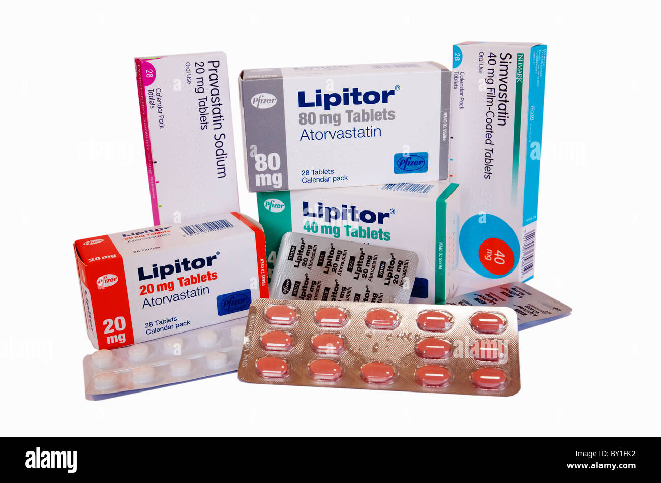 Une collection de différents types de statine (statines) médicaments pour l'abaissement du cholestérol Photo Stock