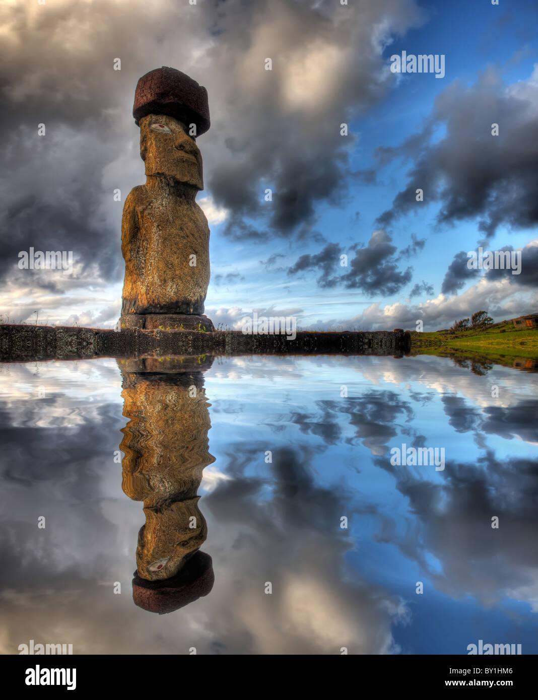 Moai sur l'île de Pâques Photo Stock