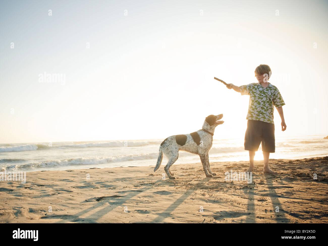 Un jeune garçon joue avec son chien sur une plage au Mexique. Photo Stock