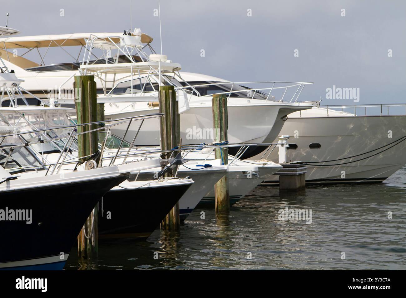 Rangée de yachts de luxe et bateaux de pêche à la ligne des quais. Photo Stock