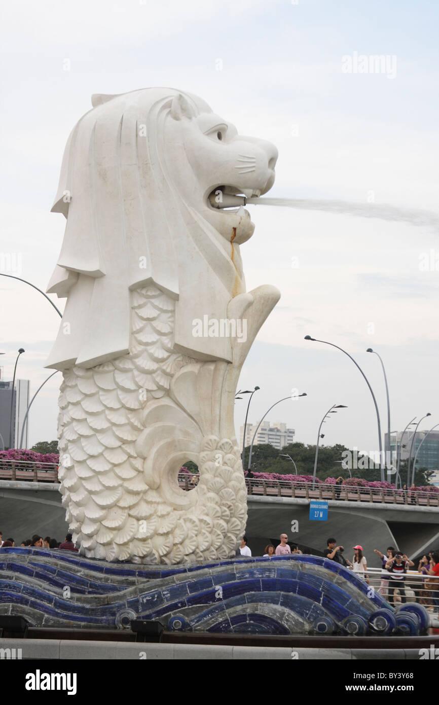 Statue du Merlion Merlion Park, à Singapour Banque D'Images