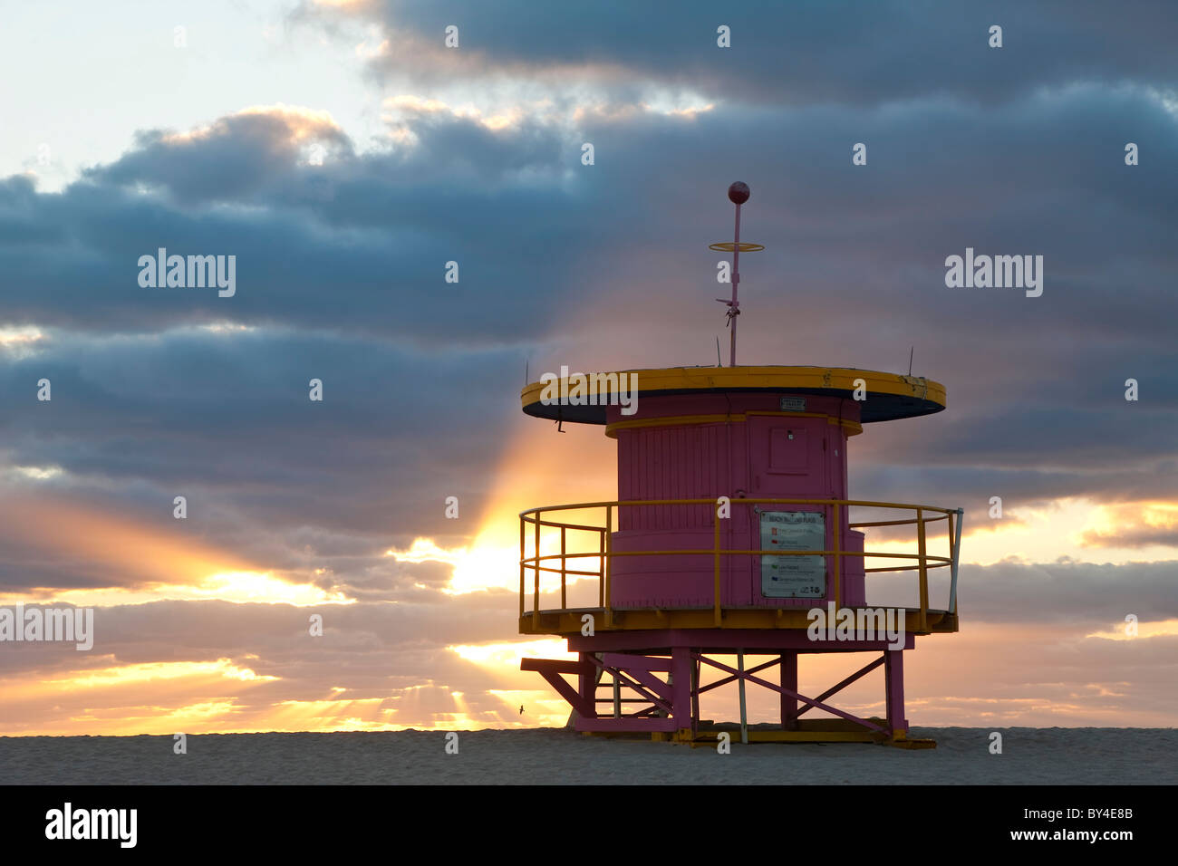 Lifeguard hut, South Beach, Miami, Floride, USA Photo Stock