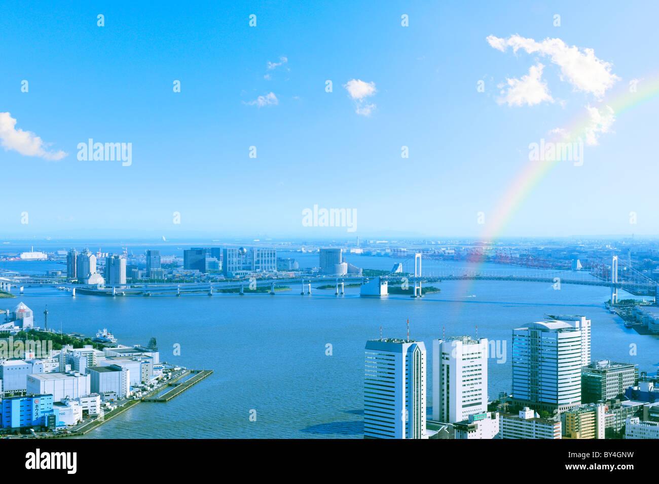 Arc-en-ciel sur la baie de Tokyo Banque D'Images