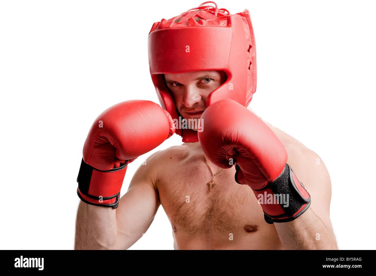 Boxeur professionnel position isolé sur fond blanc Photo Stock