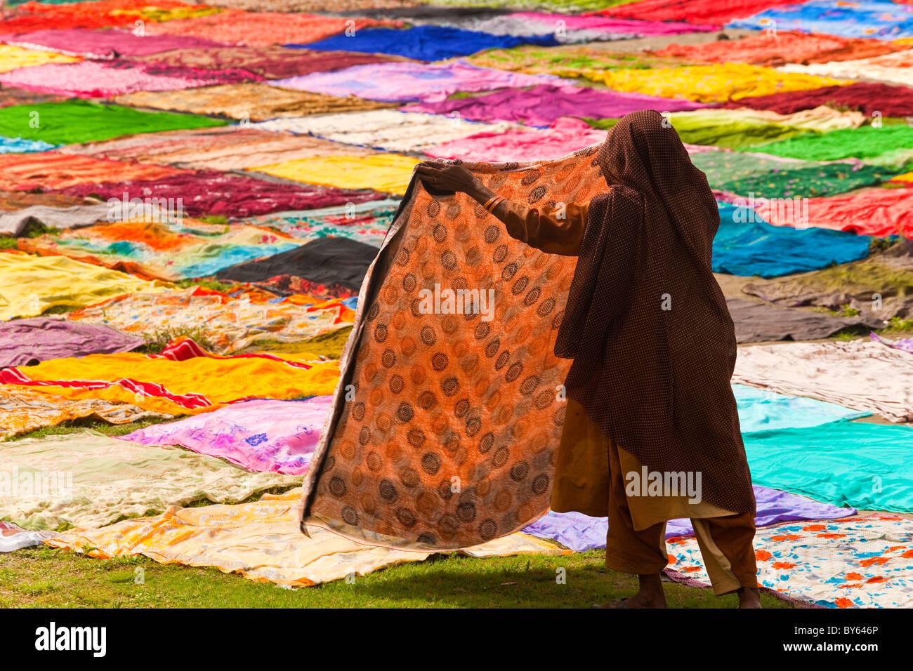 Le séchage après le lavage du sari sur les bords de la rivière Yamuna, Agra, Inde Photo Stock