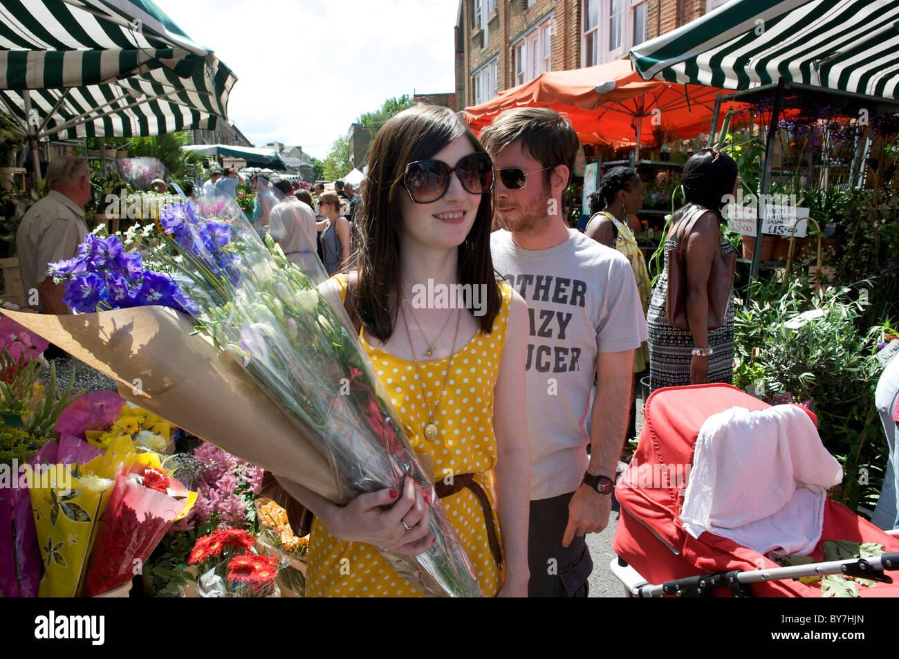 Columbia Road, Hackney, Londres Marché aux Fleurs Photo Stock