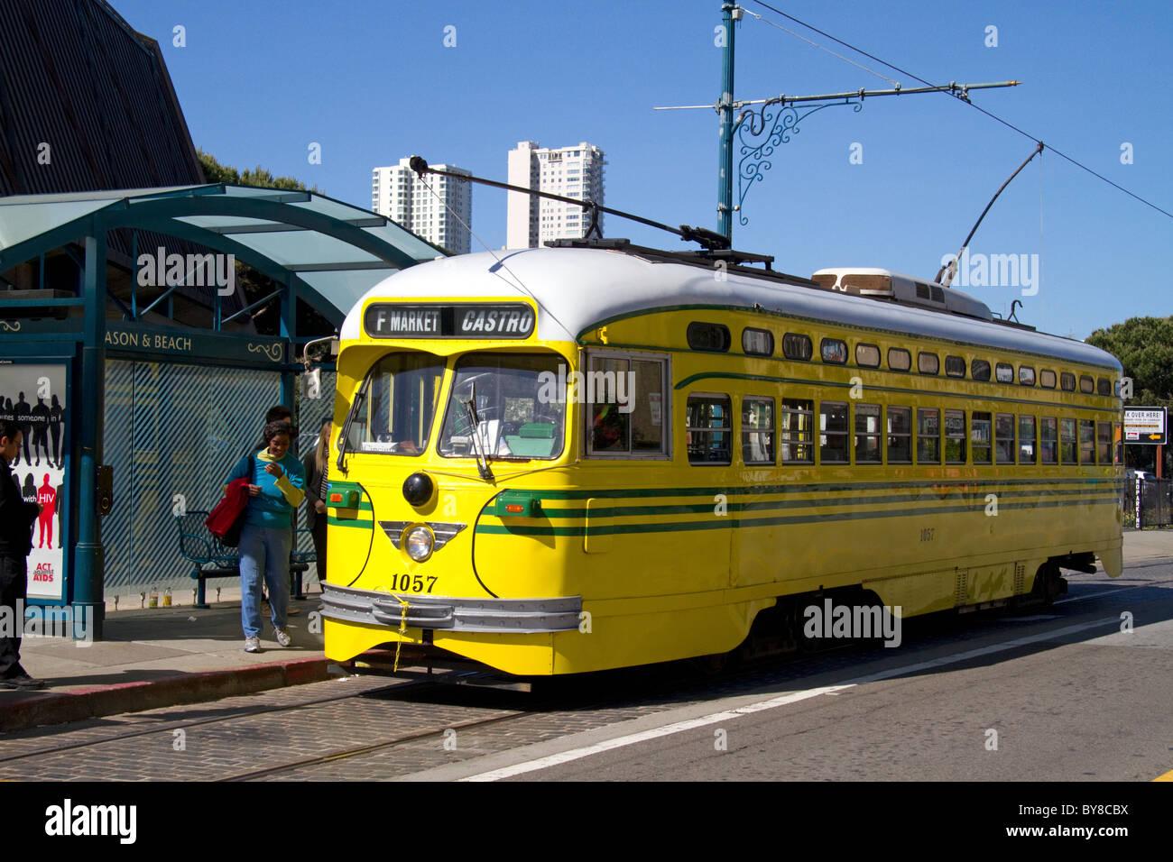 Transports publics tramway rétro à San Francisco, Californie, USA. Photo Stock