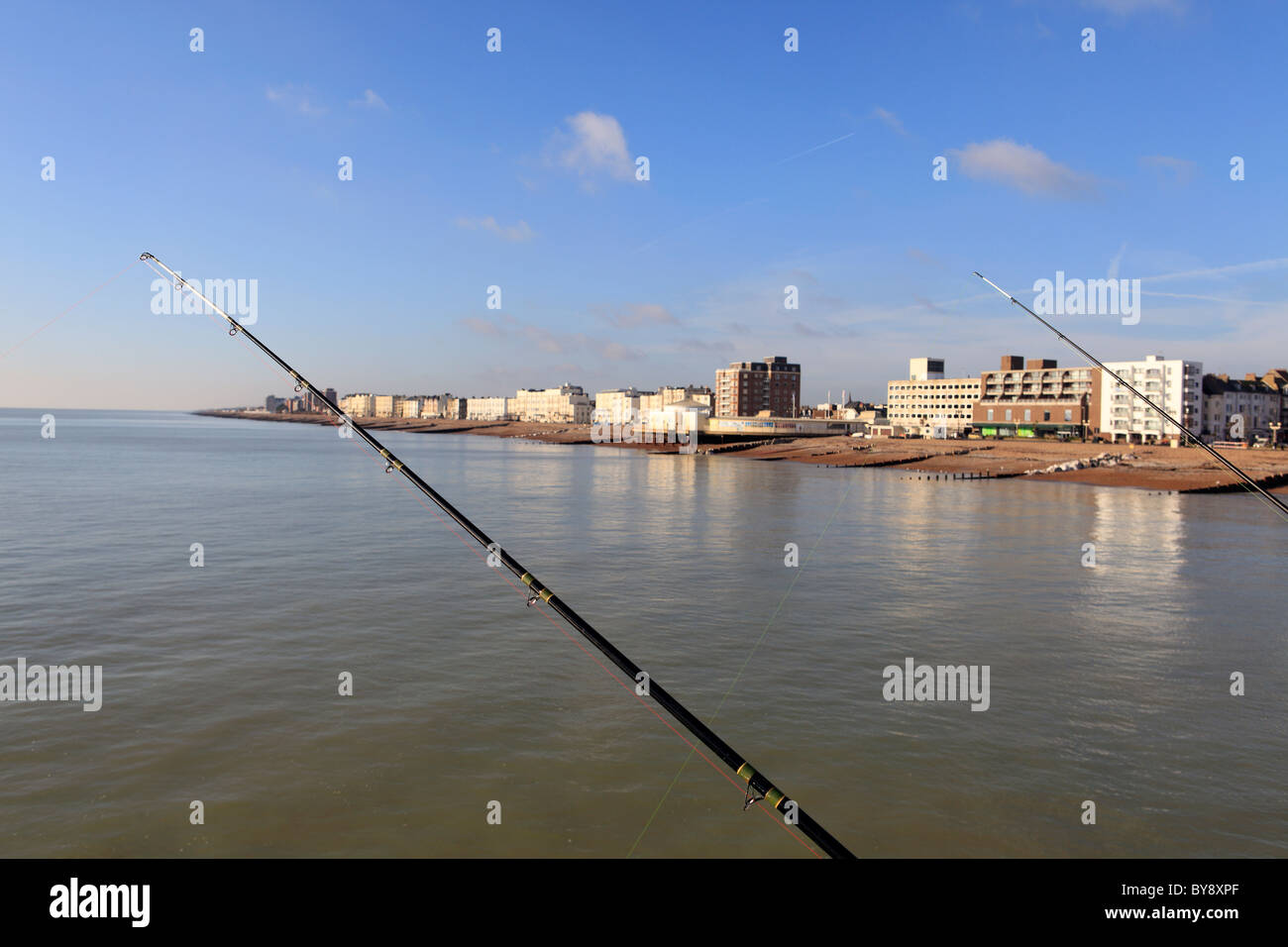 United Kingdom West Sussex pêche sur la jetée de worthing Photo Stock