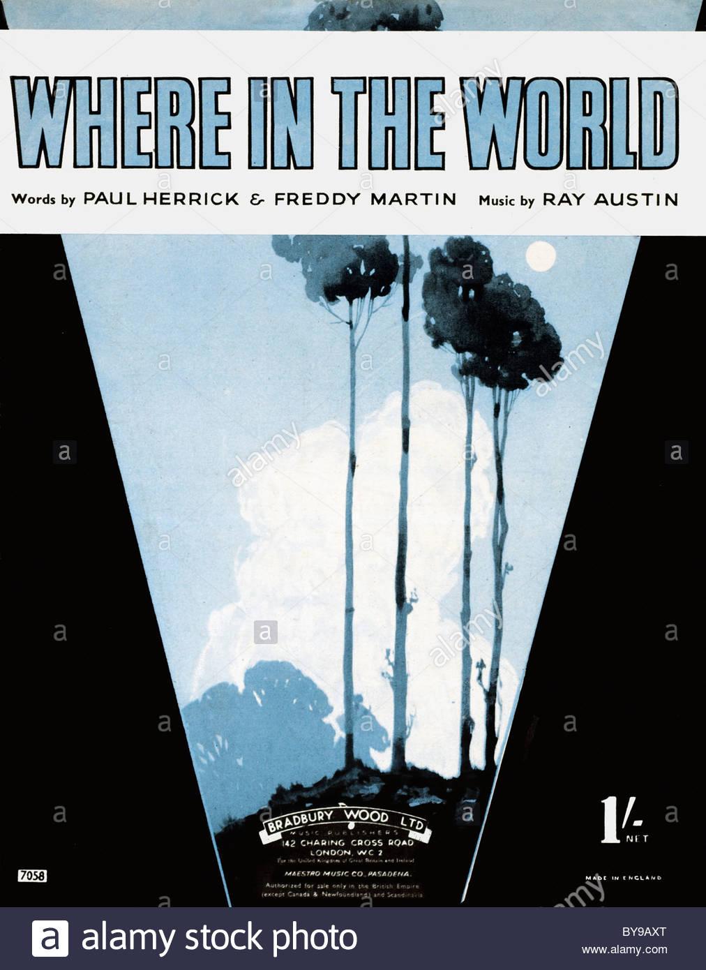 """La musique ancienne feuille de couverture de 1941 intitulé """"le cas dans le monde """"mots 'Paul Herrick' et 'Freddy Banque D'Images"""