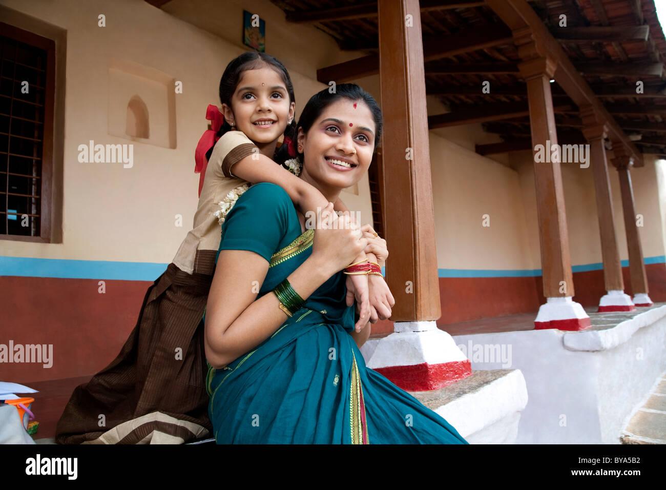 Portrait d'une fille et sa mère Photo Stock