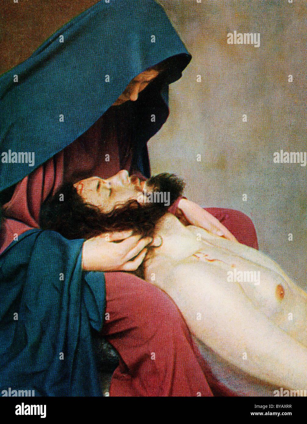 Après la crucifixion de Jésus avec sa mère Marie, la couleur d'un Uvatypie post card template, Photo Stock