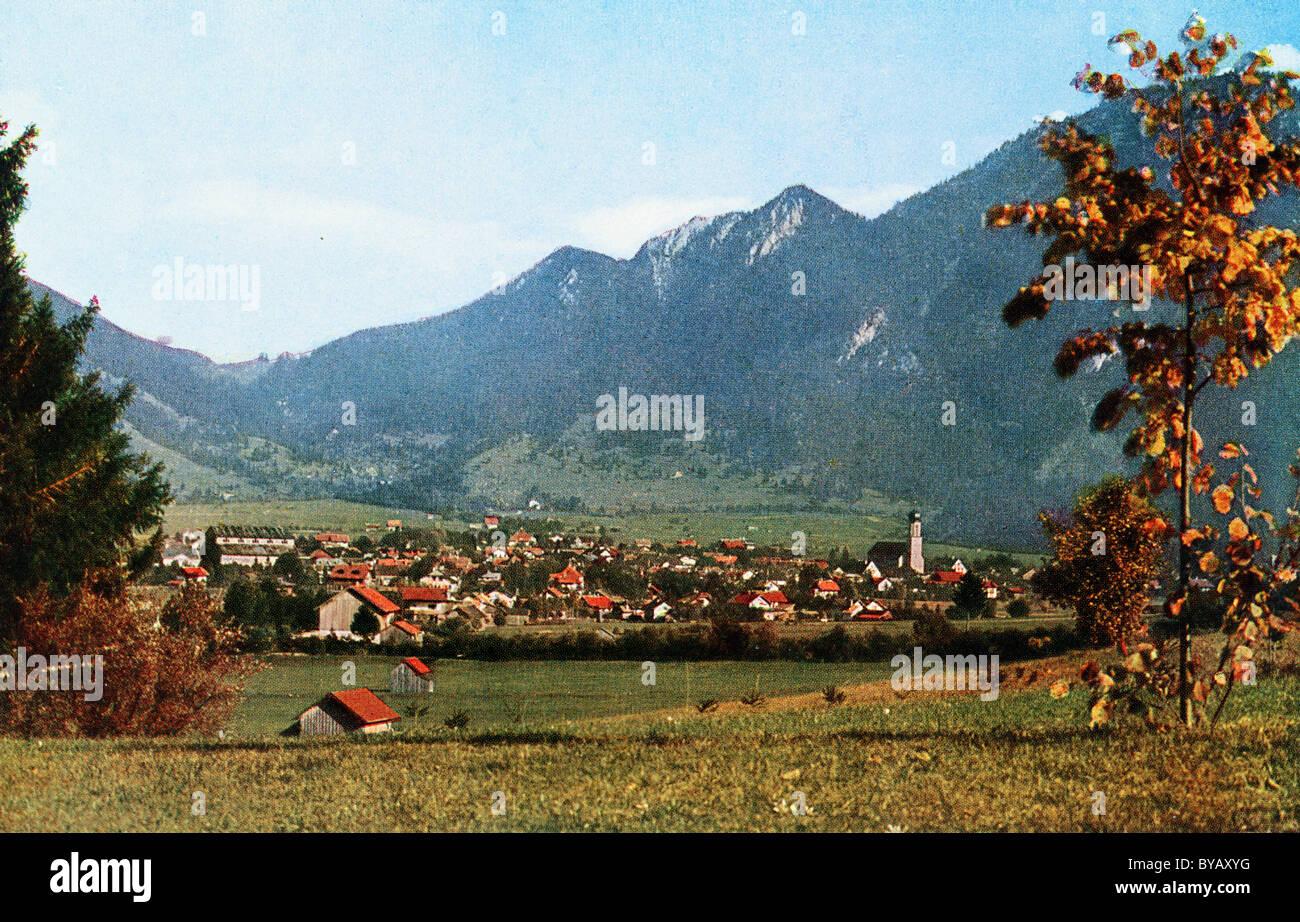 Oberammergau, 1930 Carte postale couleur à partir d'un modèle d'Uvatypie, Haute-Bavière, Photo Stock