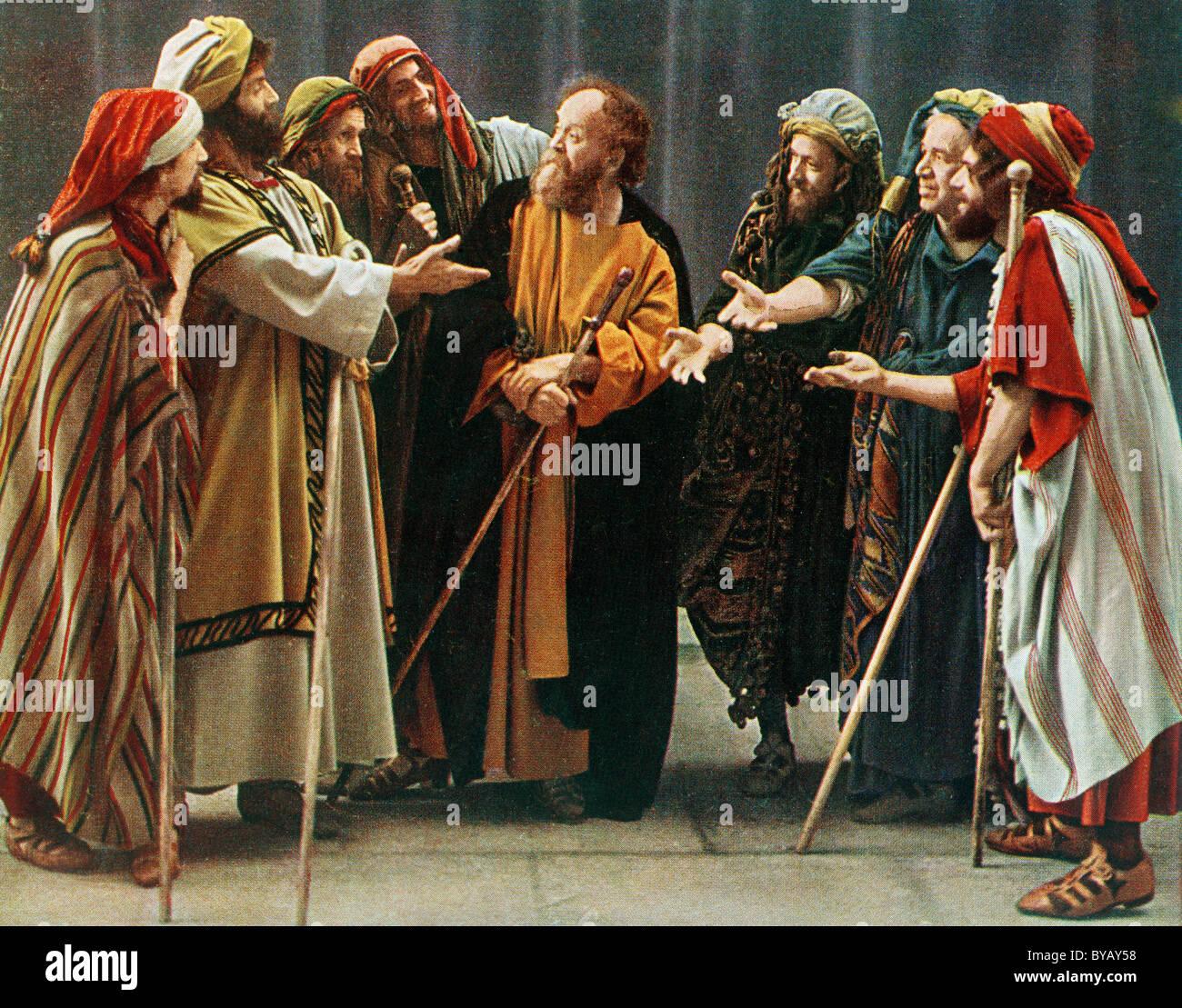 Judas et les marchands, la couleur d'un Uvatypie post card template, Oberammergau Passion Play 1930, Haute-Bavière, Photo Stock