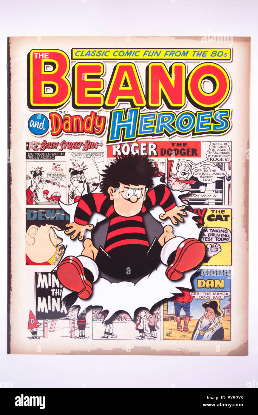 Un Beano comic sur fond blanc annuel Photo Stock