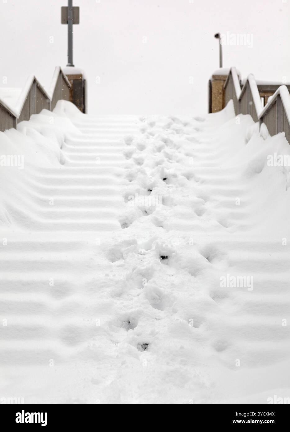 Un escalier extérieur couvert de neige, Winnipeg, Manitoba, Canada Photo Stock