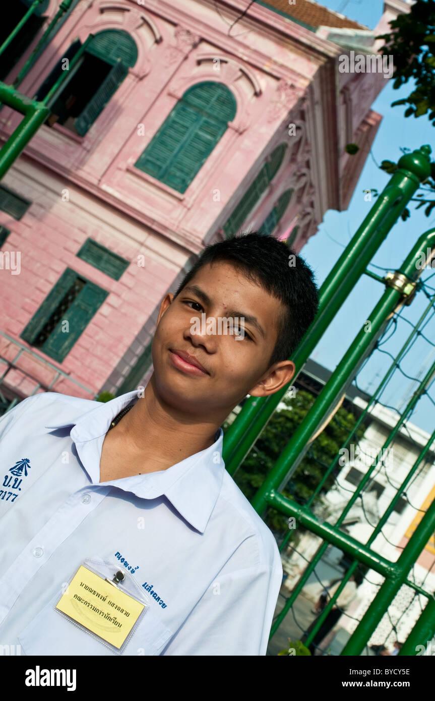 Wat Benjamaborpit Mattayom écolier à l'école, Bangkok, Thaïlande Photo Stock