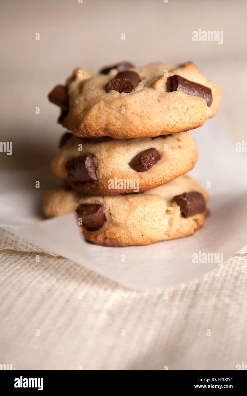 Cookies aux pépites de chocolat Photo Stock