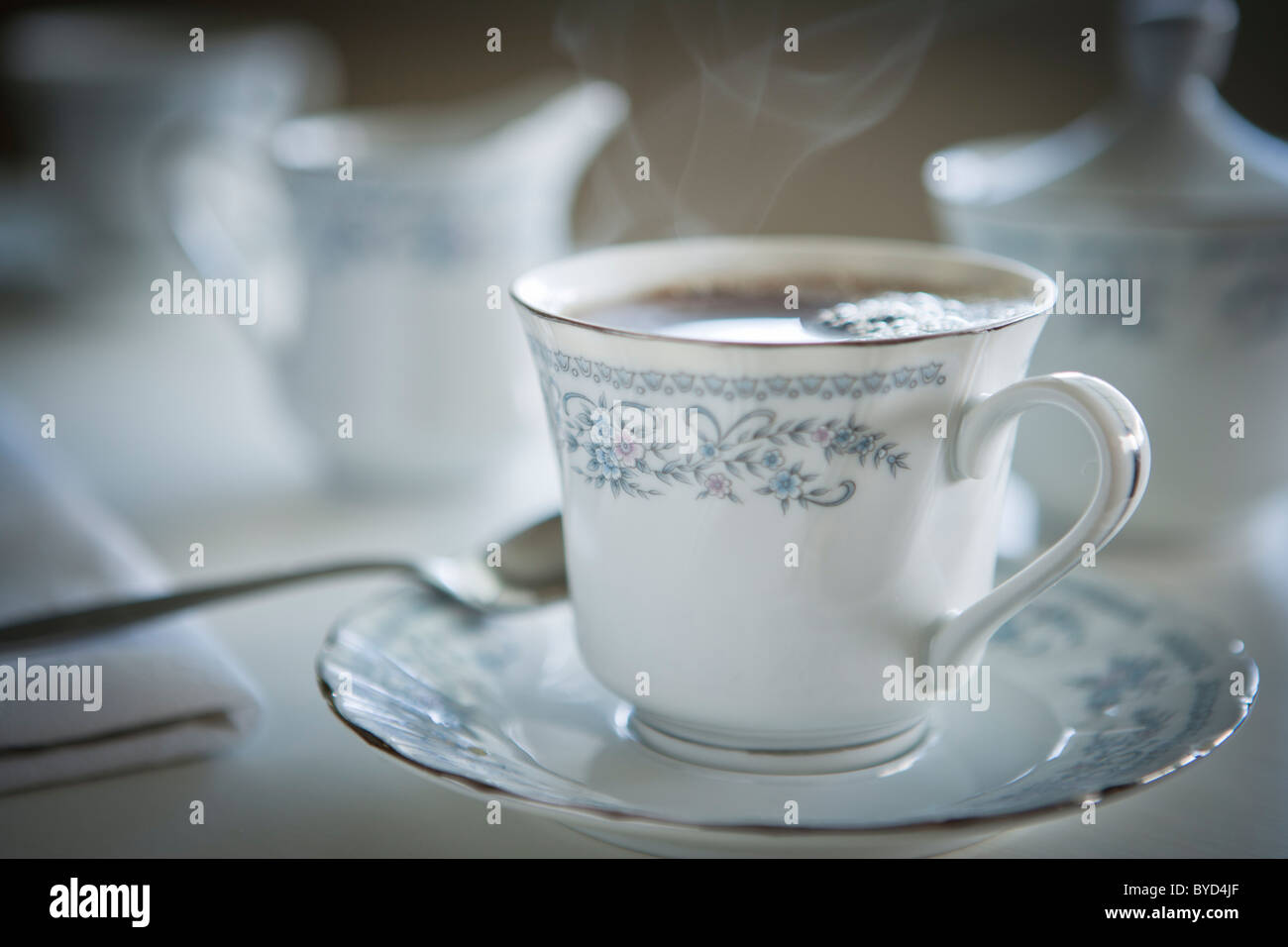Tasse fumante de thé en porcelaine fine Photo Stock